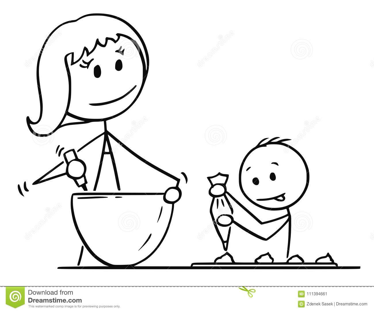 Cartoon Of Mother And Son Cooking Or Baking Together Stock