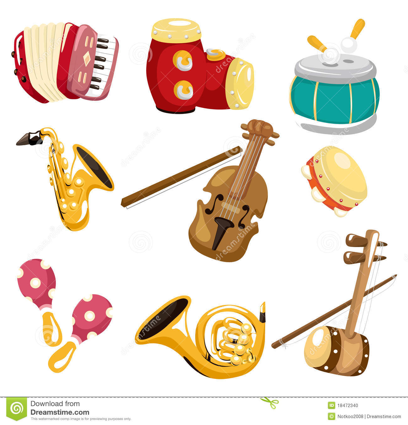 Cartoon Musical Instrument Icon Stock Vector