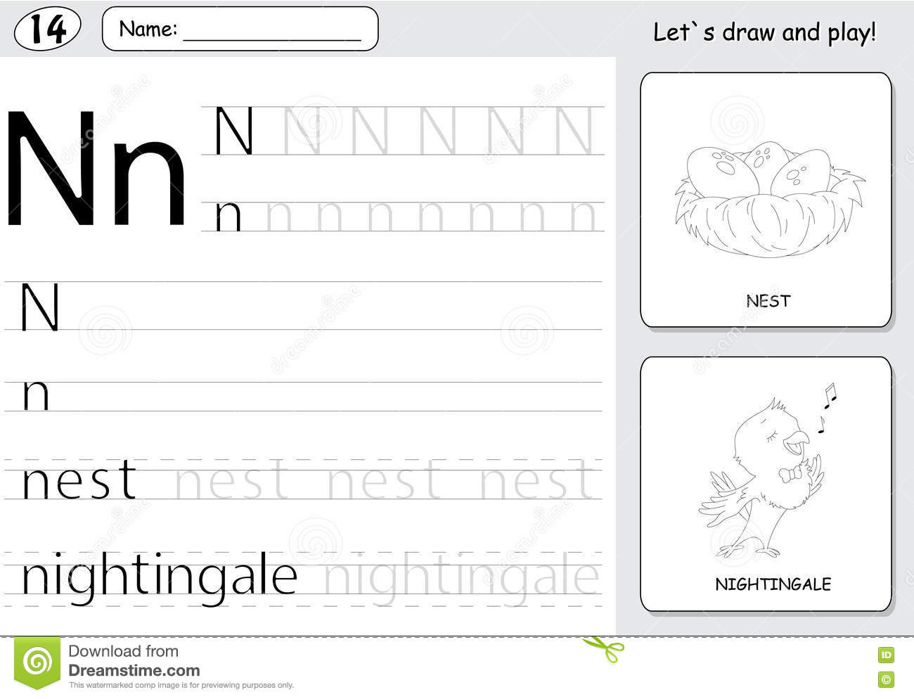 Cartoon Nightingale And Nest Alphabet Tracing Worksheet