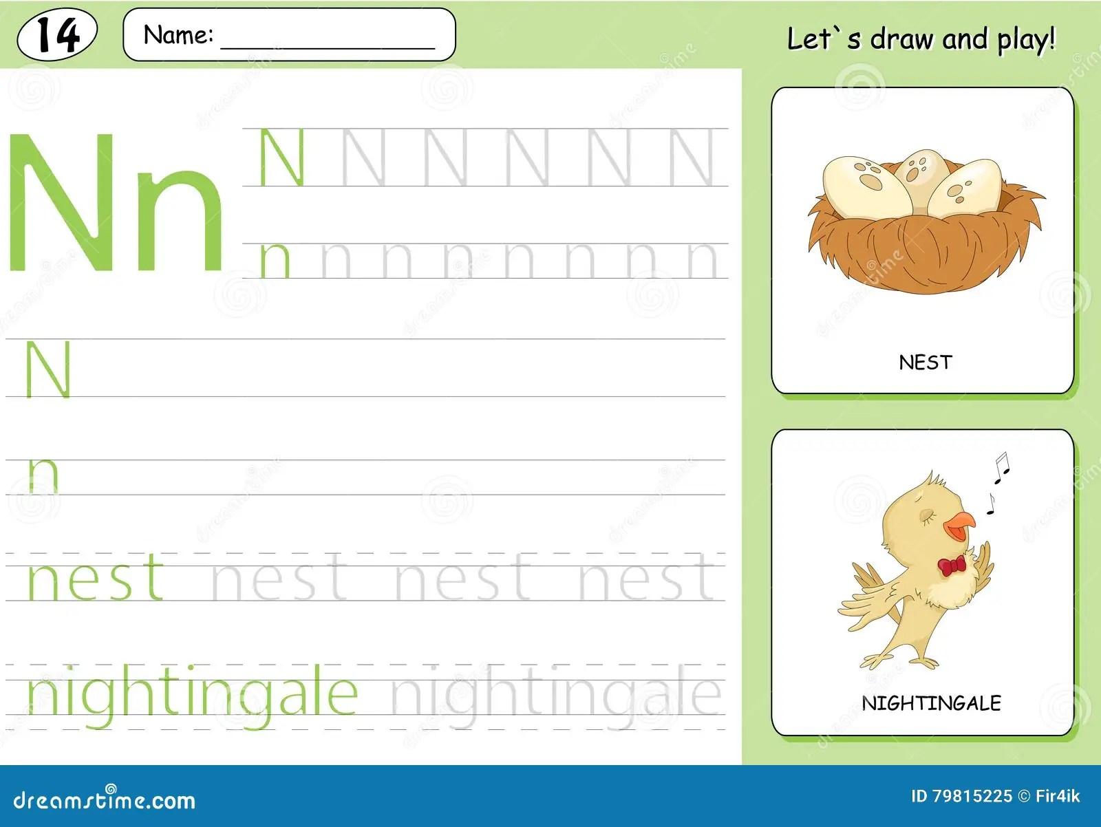 Cartoon Nightingale And Nest Alphabet Tracing Worksheet