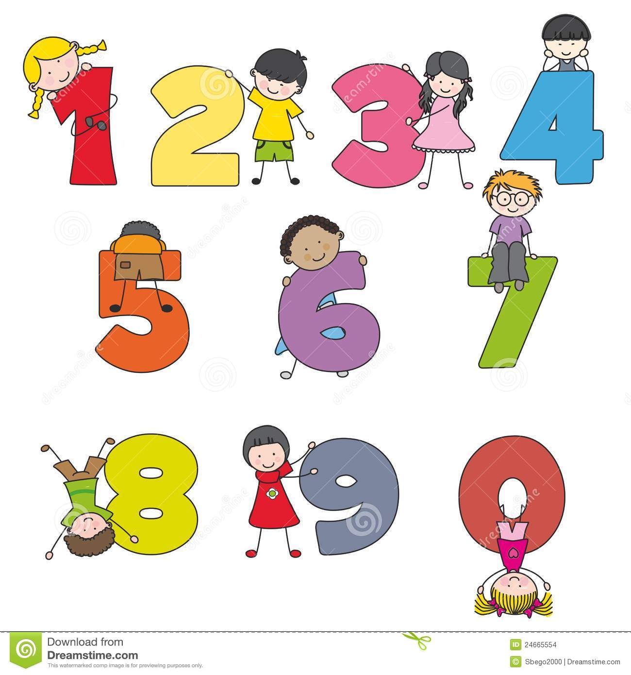 Cartoon Numbers And Children Stock Vector