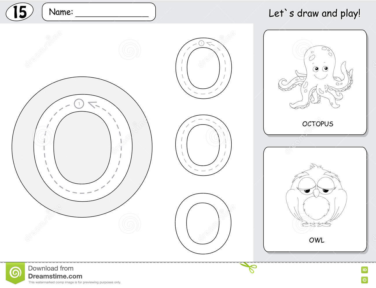 Cartoon Octopus And Owl Alphabet Tracing Worksheet