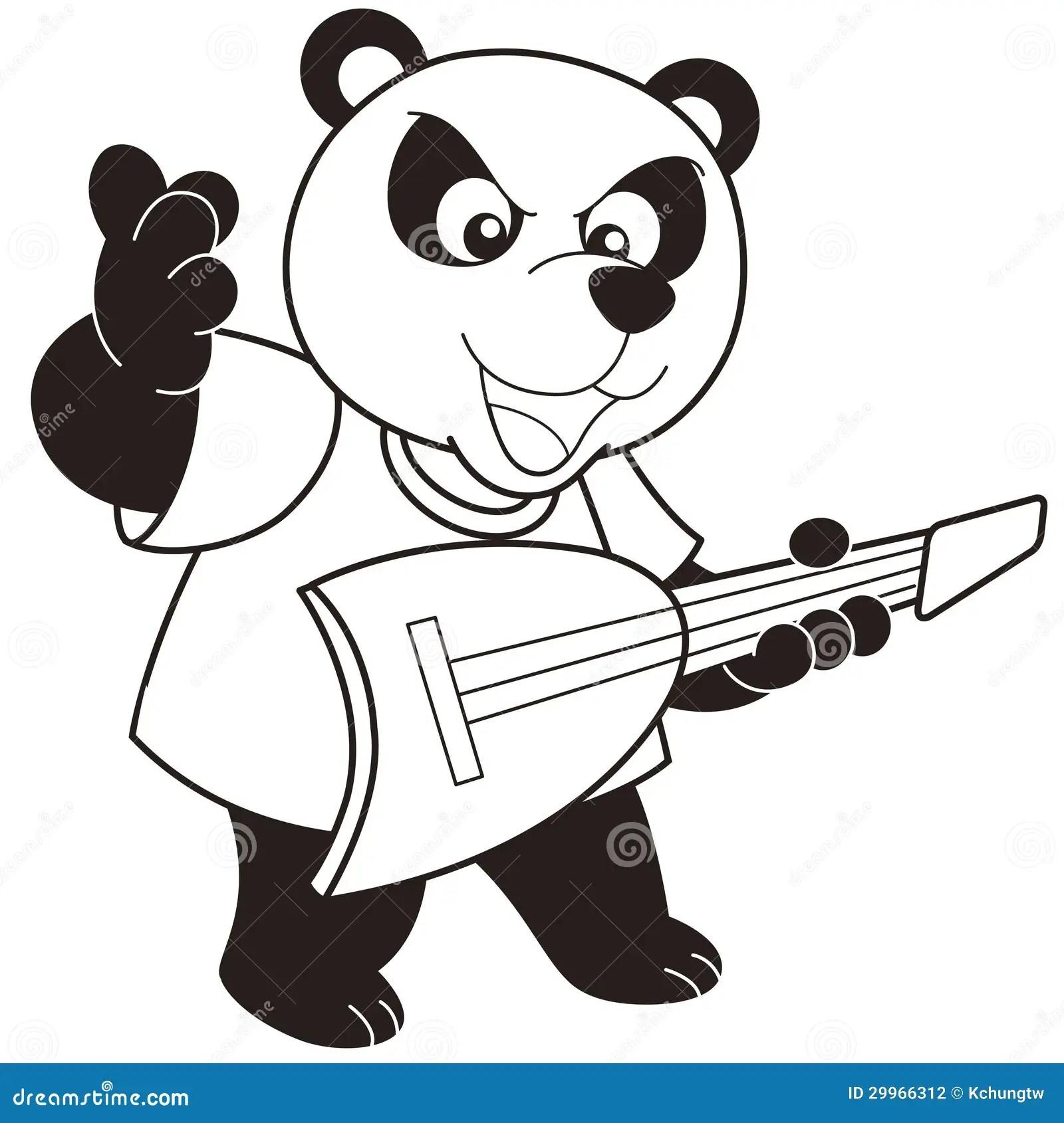 Cartoon Panda Playing An Electric Guitar Stock Vector