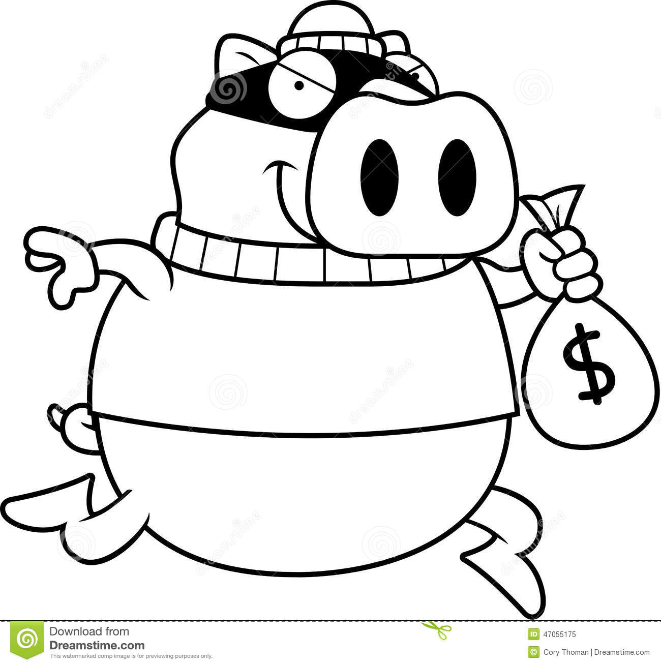Cartoon Pig Burglar Stock Vector