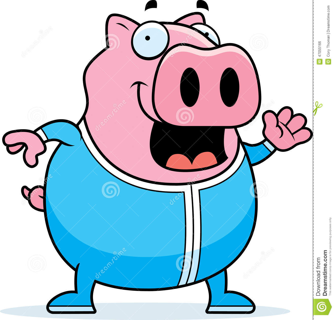 cartoon pig in pajamas stock vector image 47055166