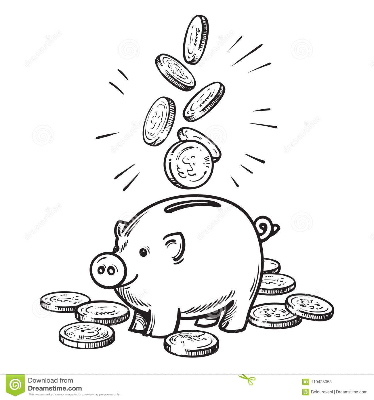 Cartoon Piggy Bank With Falling Coins Black And White