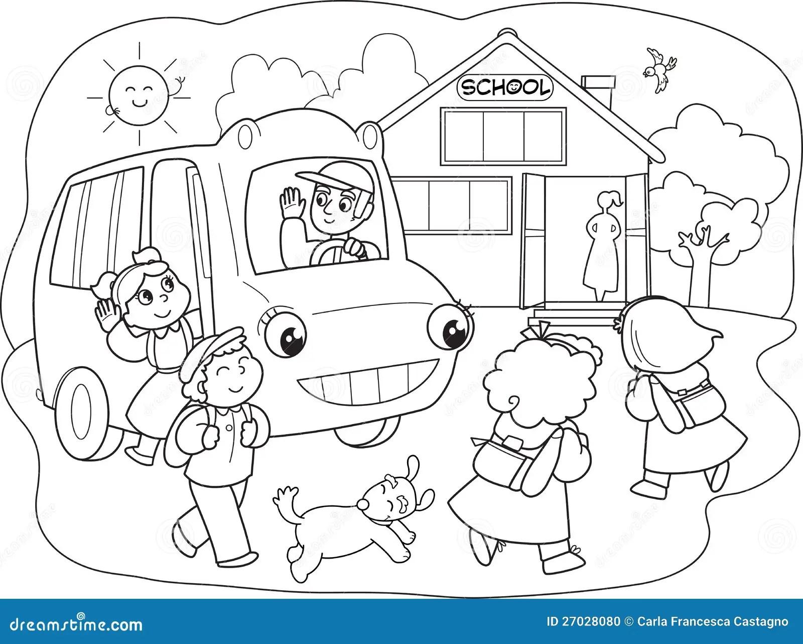 Cartoon Pupils On Schoolbus Vector Stock Vector