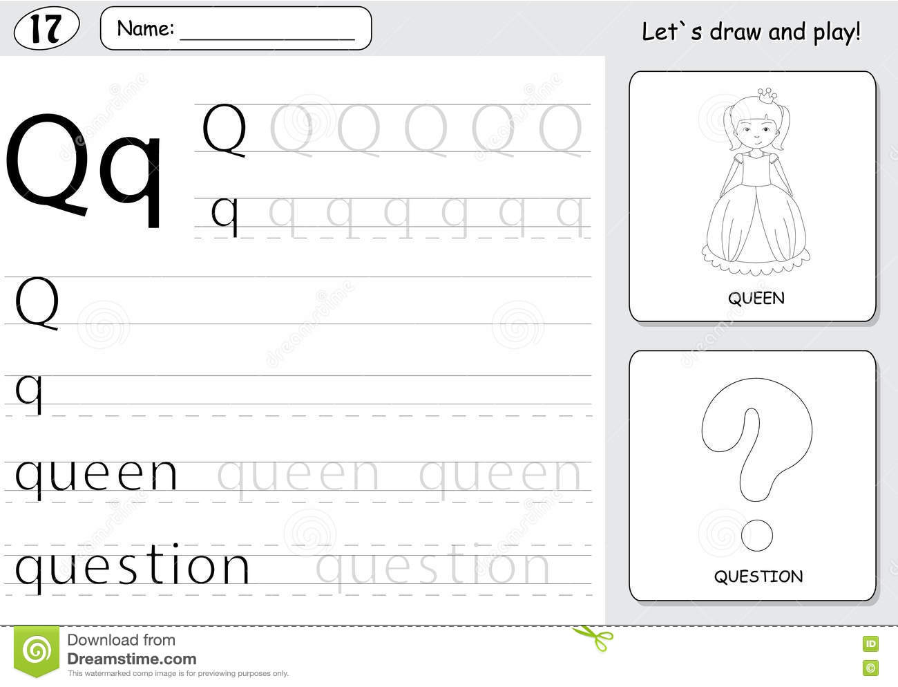 Cartoon Queen And Question Alphabet Tracing Worksheet