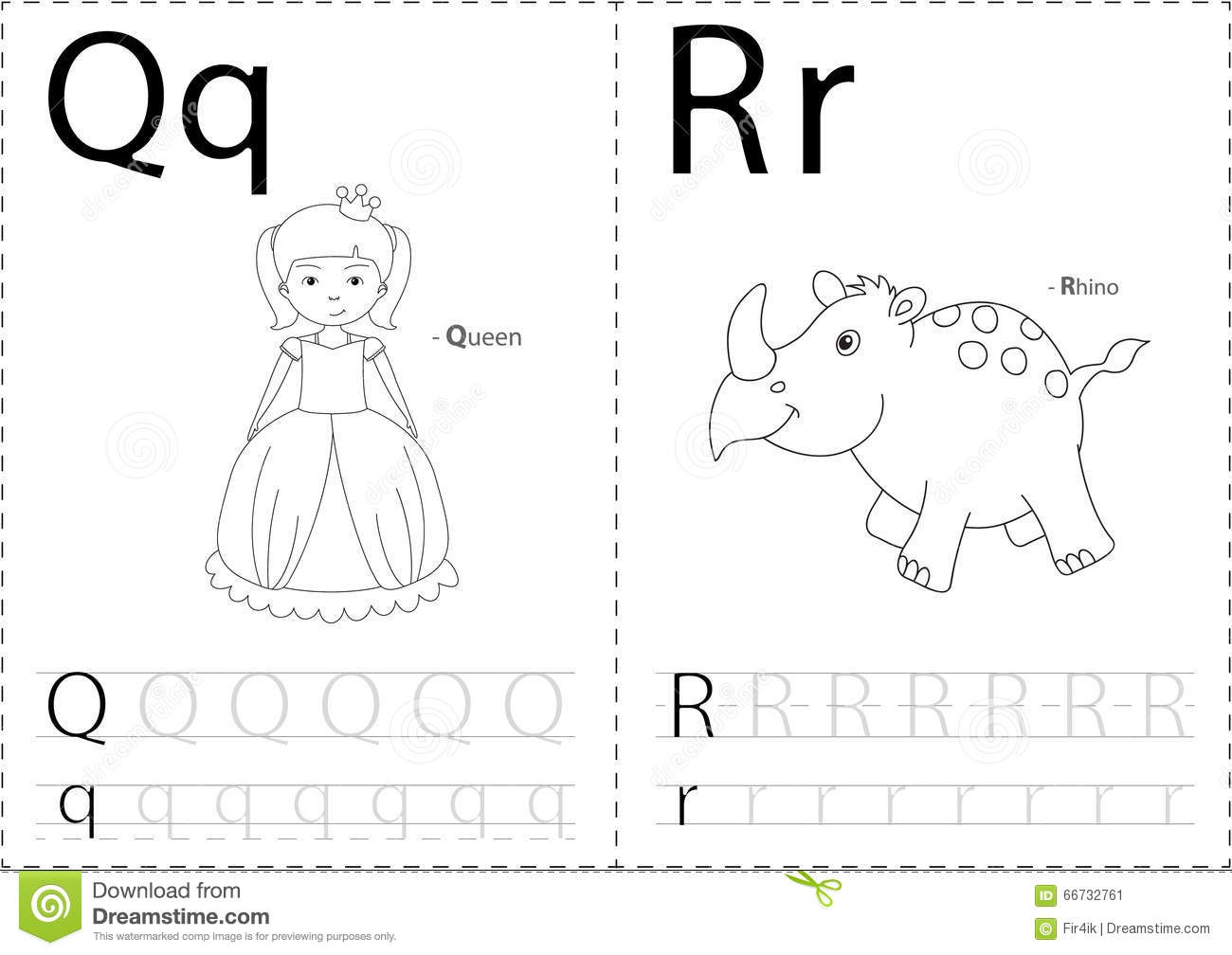 Cartoon Queen And Rhino Alphabet Tracing Worksheet Writing A Z And Educational Game For Kids