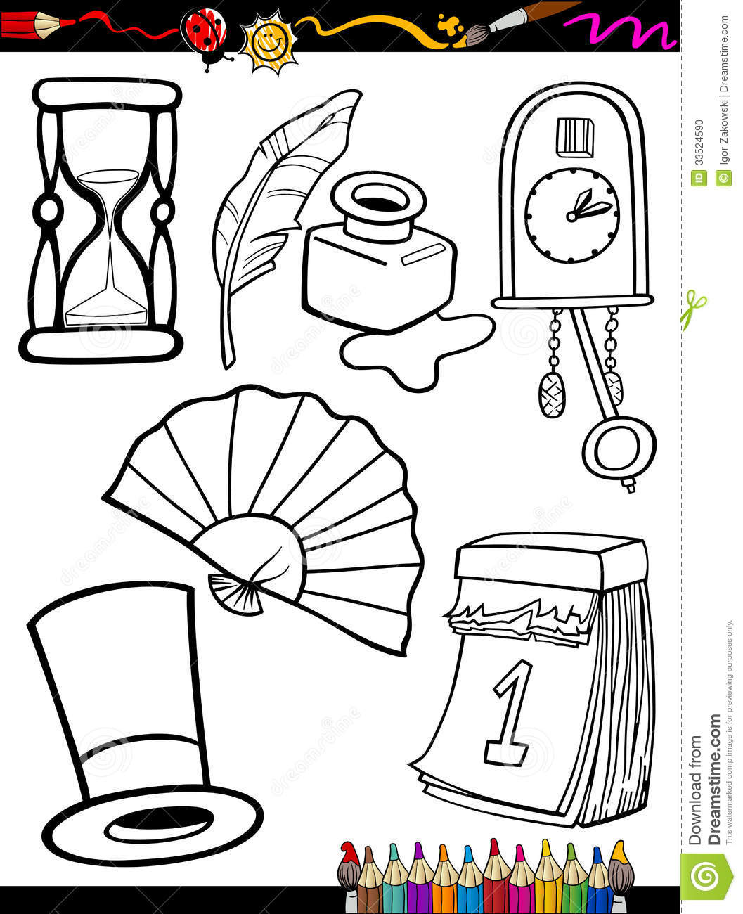 Cartoon Retro Objects Coloring Page Stock Vector