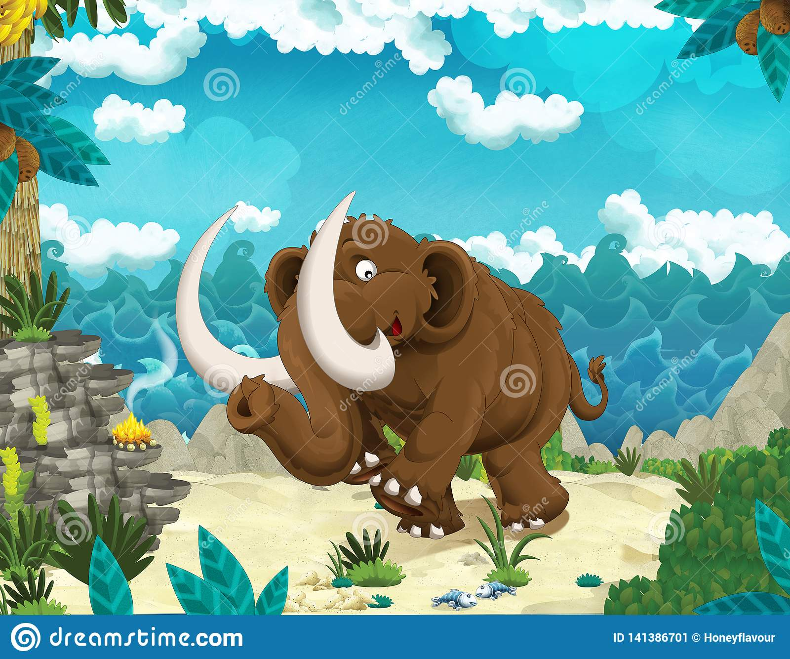 Cartoon Prehistoric Rhinoceros Coloring Book And Dot To