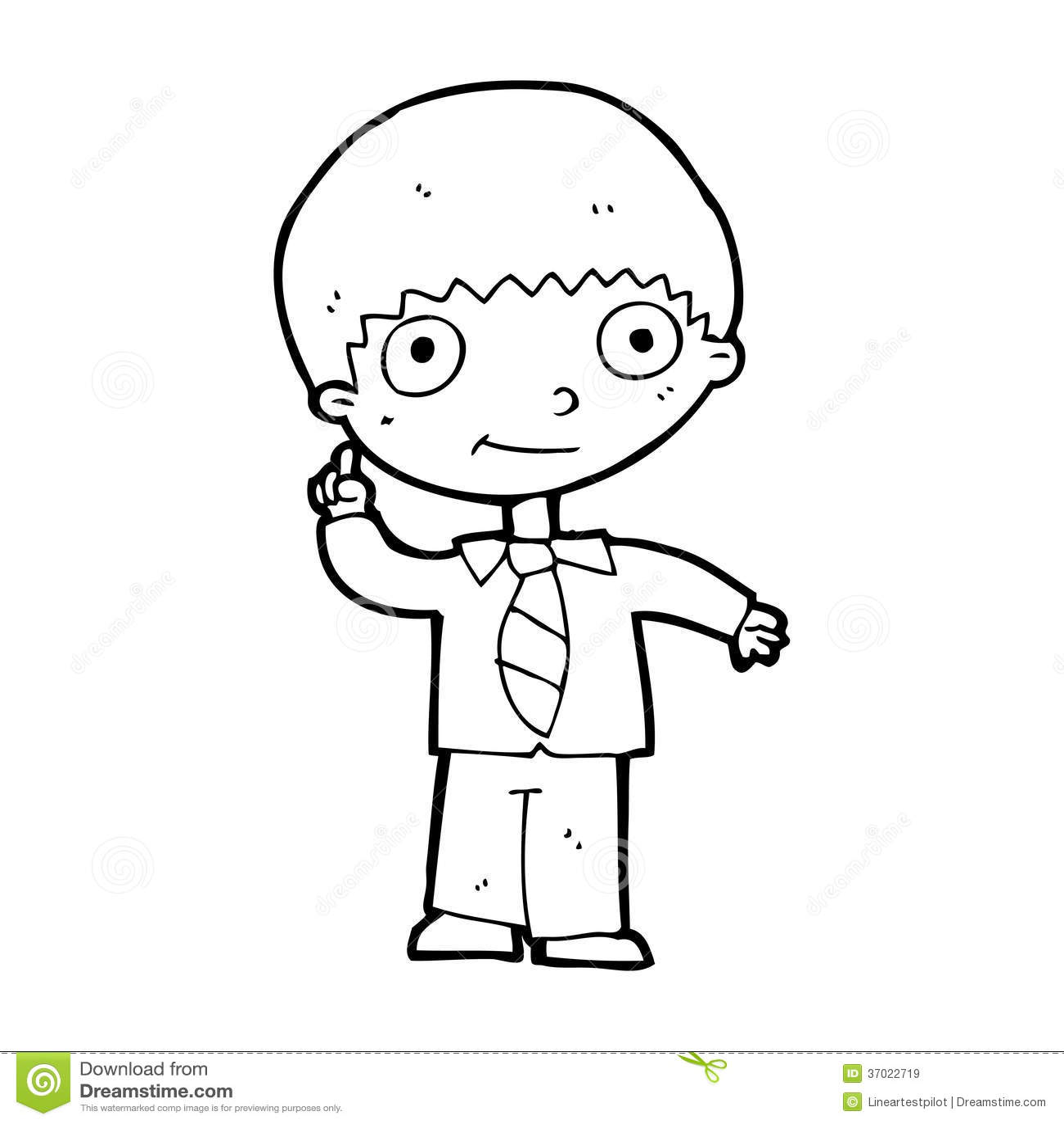 Cartoon School Boy With Idea Stock Illustration