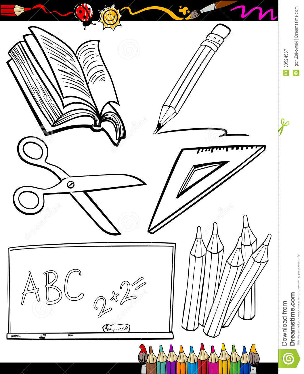 Cartoon School Objects Coloring Page Stock Vector