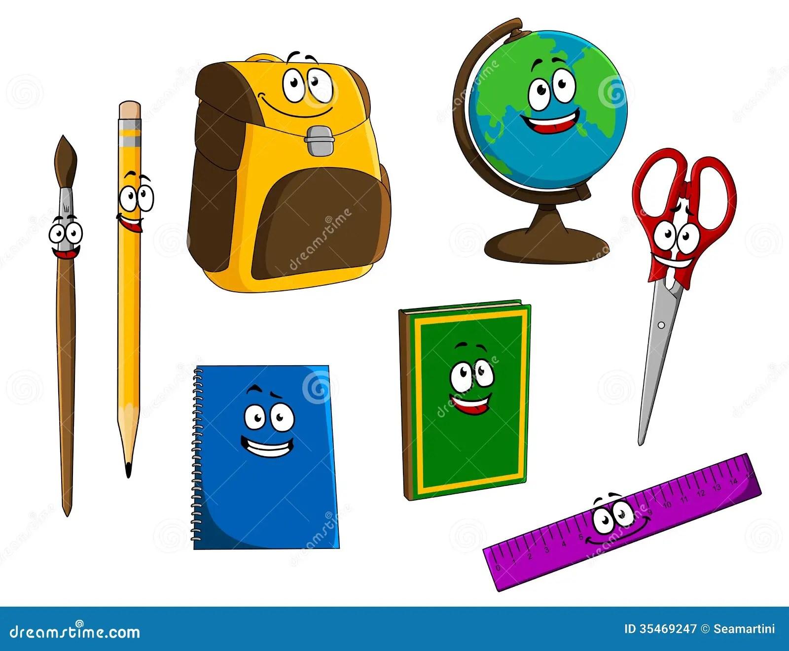 Cartoon School Objects Royalty Free Stock Photography