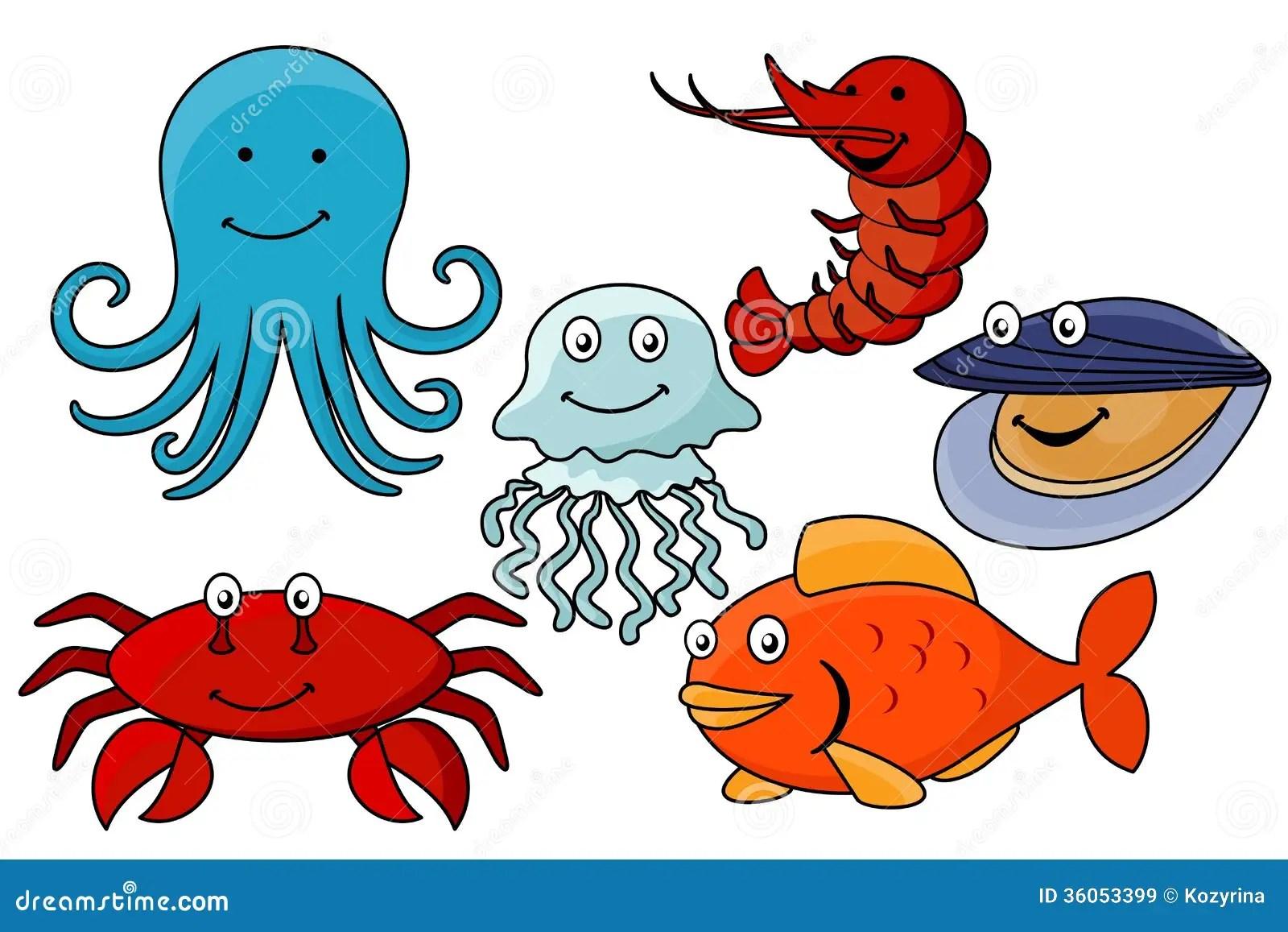 Yellow Cartoon Octopus In Sea Water Cartoon Vector