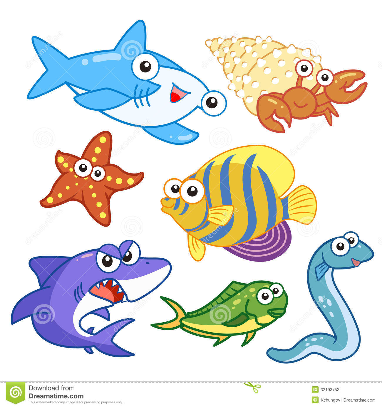 Cartoon Sea Animals Set With White Background Stock Vector