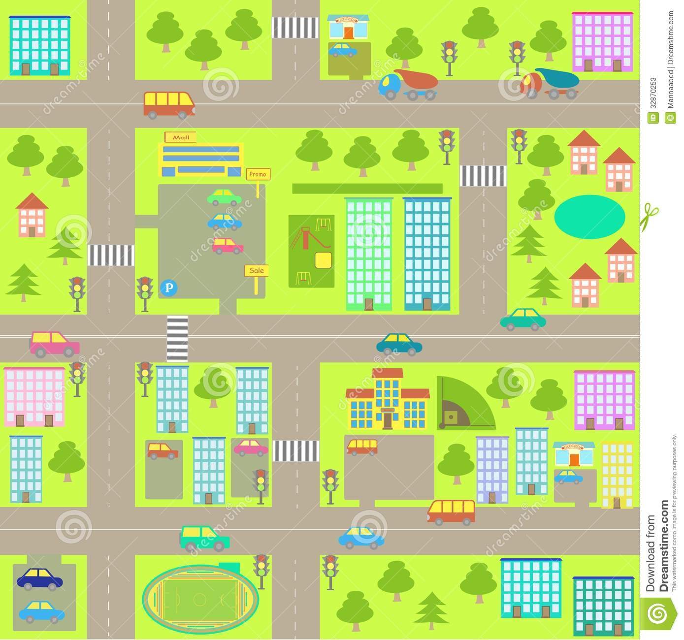 Cartoon Seamless City Map Stock Vector Illustration Of