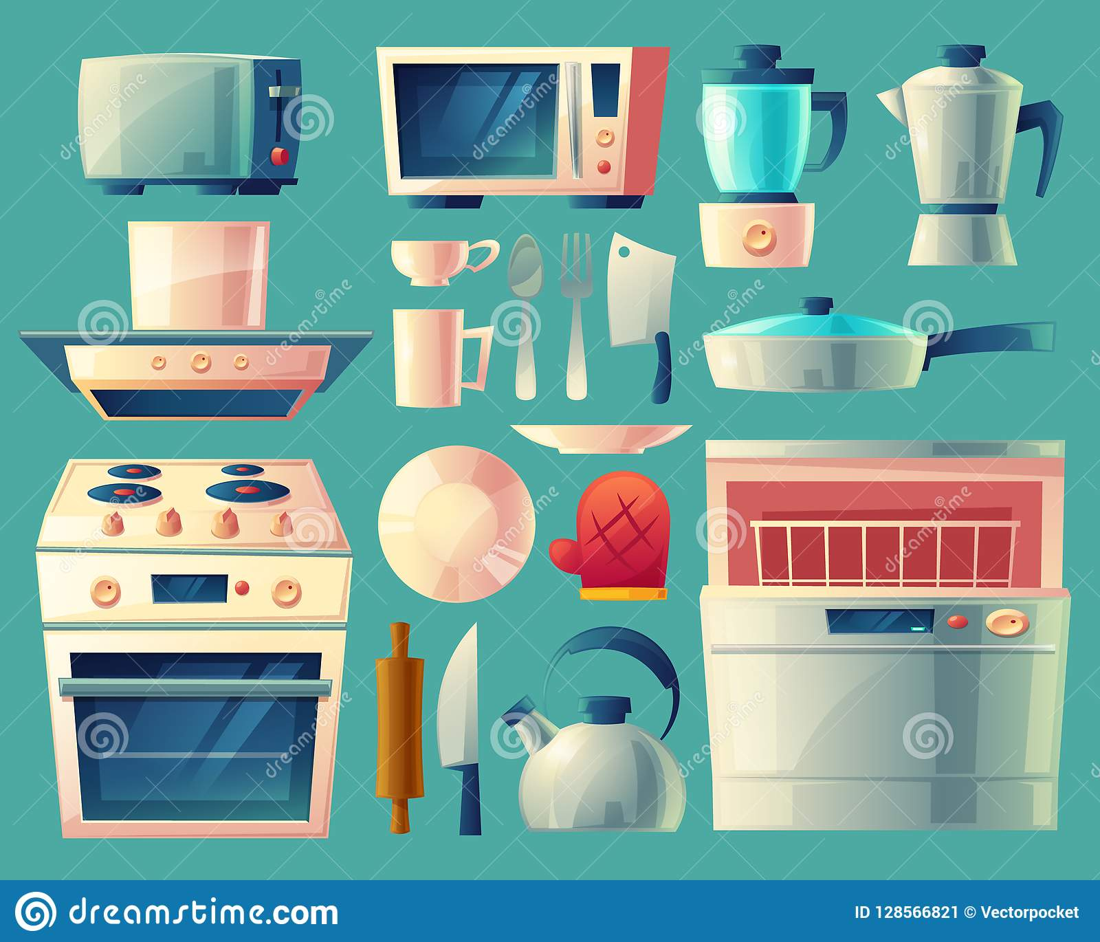 https www dreamstime com cartoon set kitchen appliances washing machine toaster fridge microwave kettle blender stove exhaust hood pan cup knife image128566821