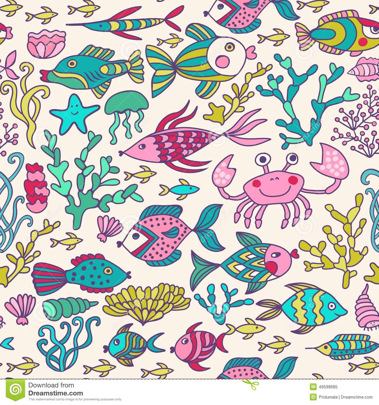Colorful Fish Vector Seamless Pattern Vector Illustration