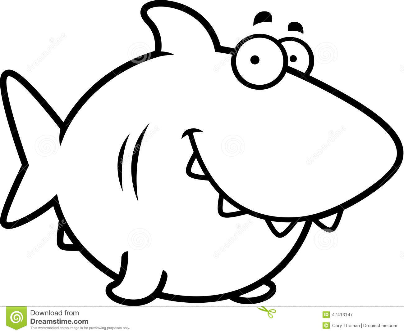 Cartoon Shark Smiling Stock Vector Illustration Of Animal
