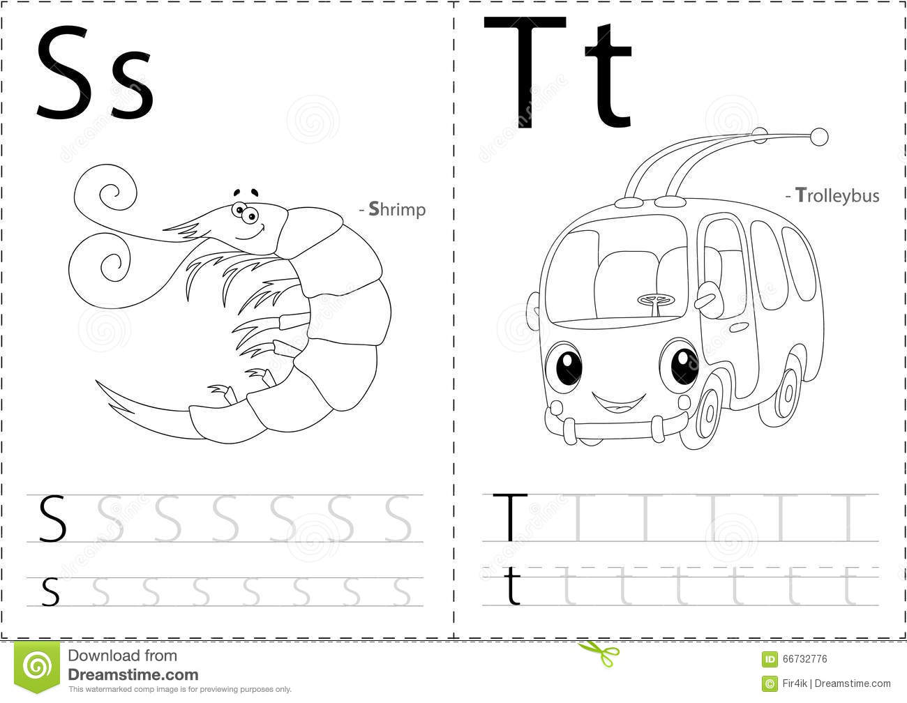 Cartoon Shrimp And Trolleybus Alphabet Tracing Worksheet Writi Stock Illustration
