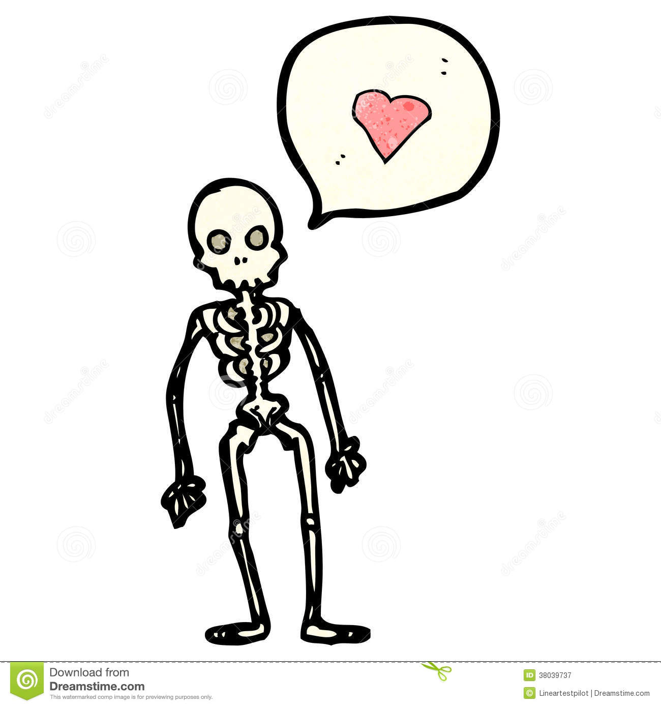 Cartoon Skeleton With Love Heart Stock Vector