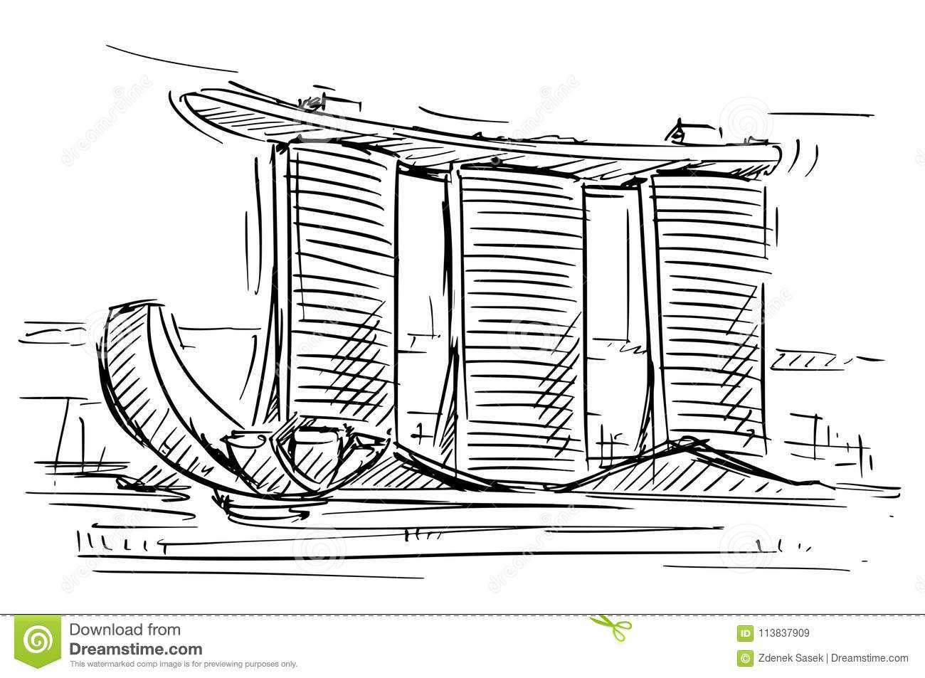 Cartoon Sketch Of The Marina Bay Sand Singapore Stock