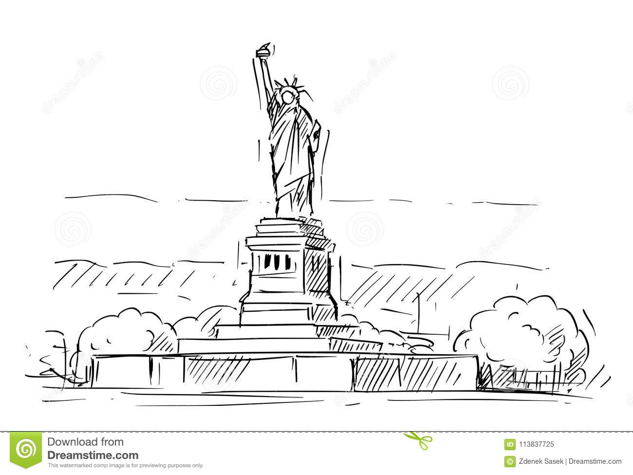 Cartoon Sketch Of The Statue Of Liberty New York United