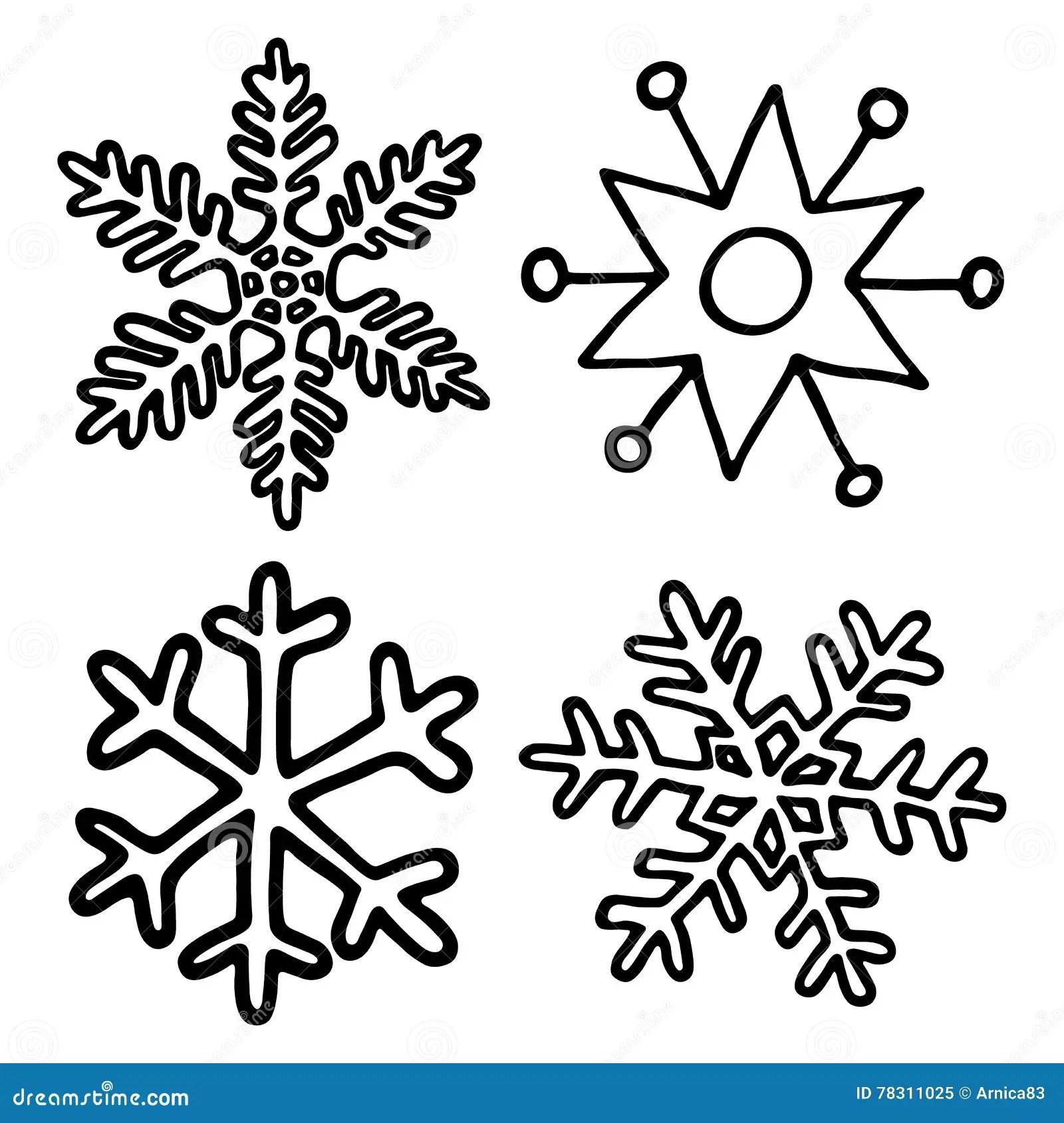Cartoon Snowflake Set Stock Vector Illustration Of