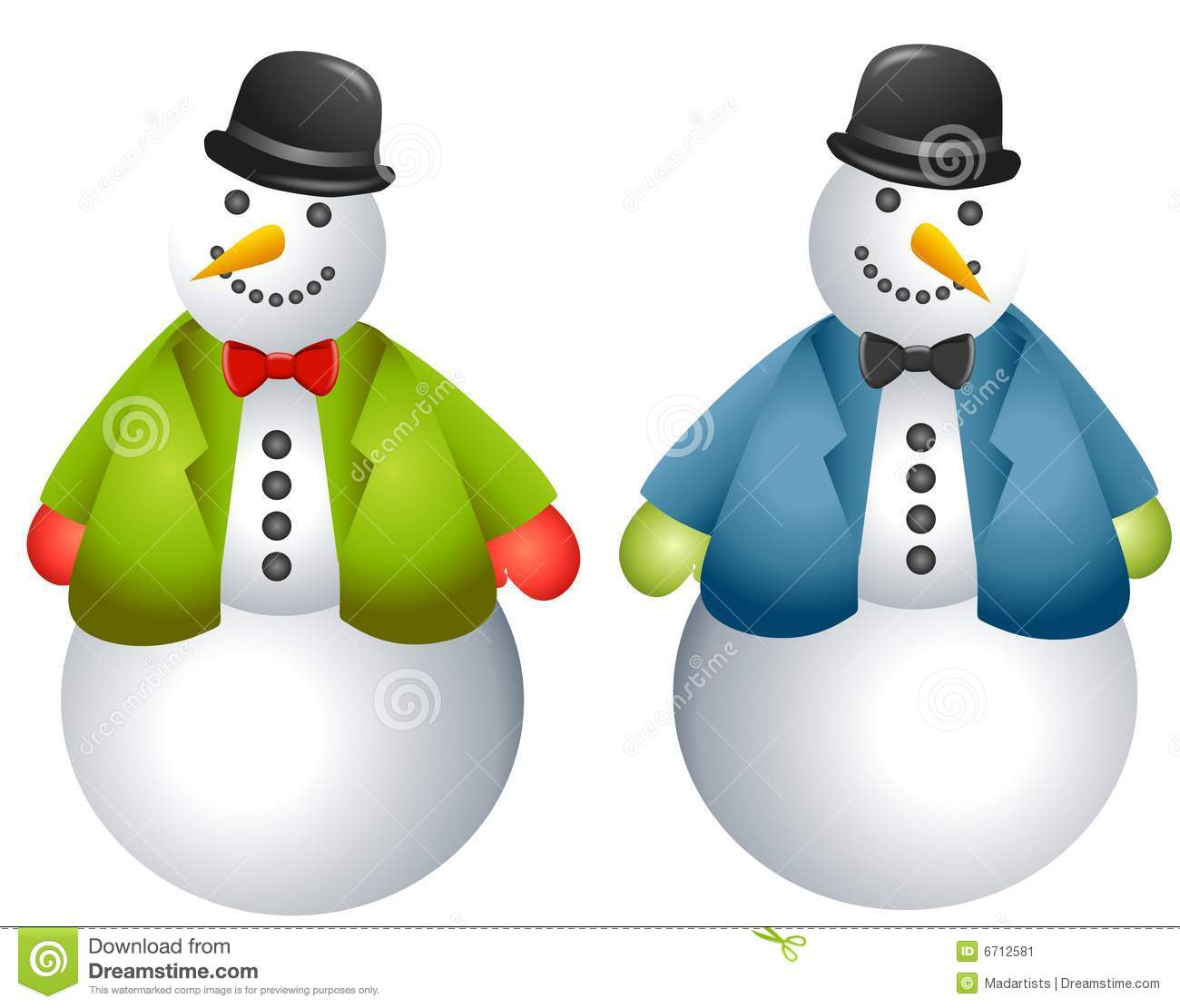 Cartoon Snowmen Clip Art Stock Image
