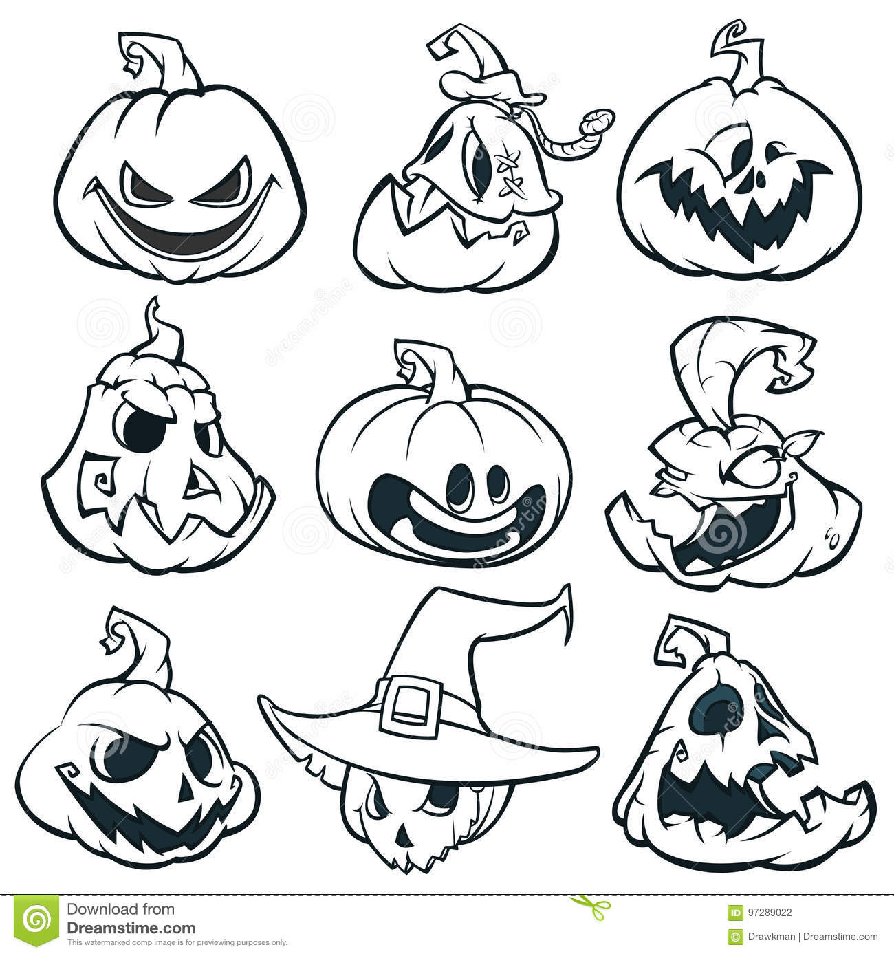 Cartoon Spooky Jack O Lantern Pumpkins Set Outlined