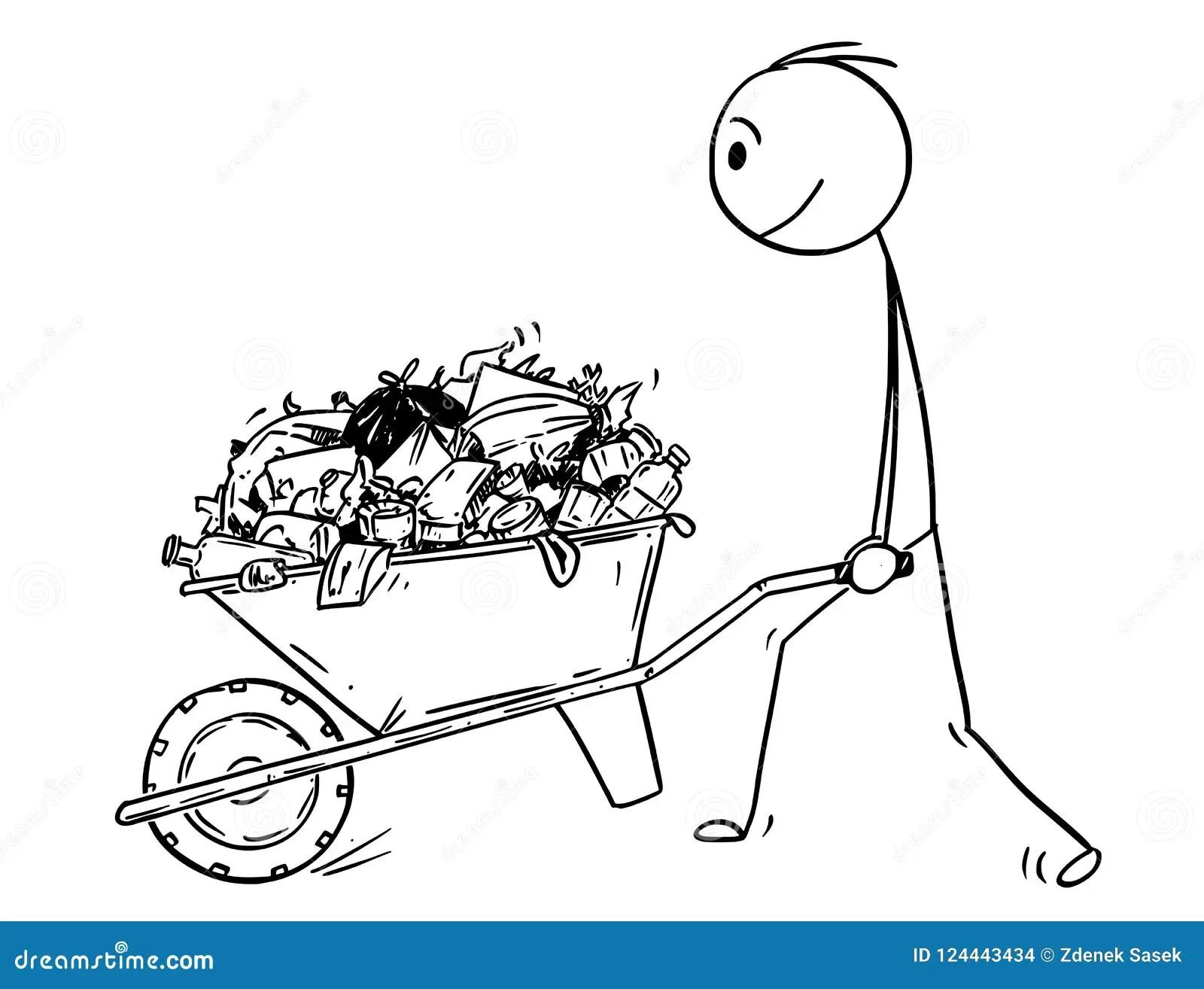 Cartoon Man Pushing Wheelbarrow Stock Illustrations 130