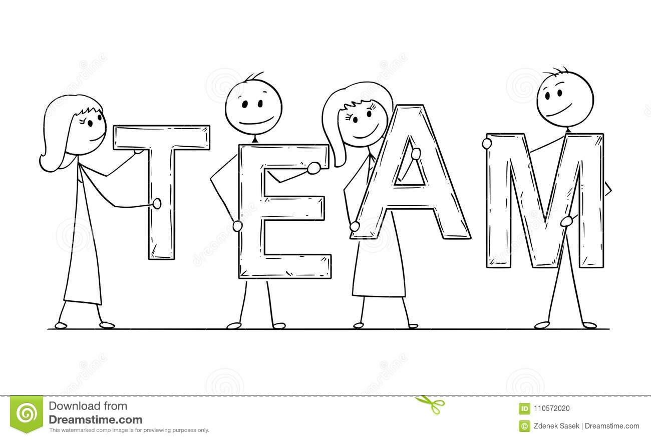 Cartoon Of Business People Holding Word Team Stock Vector