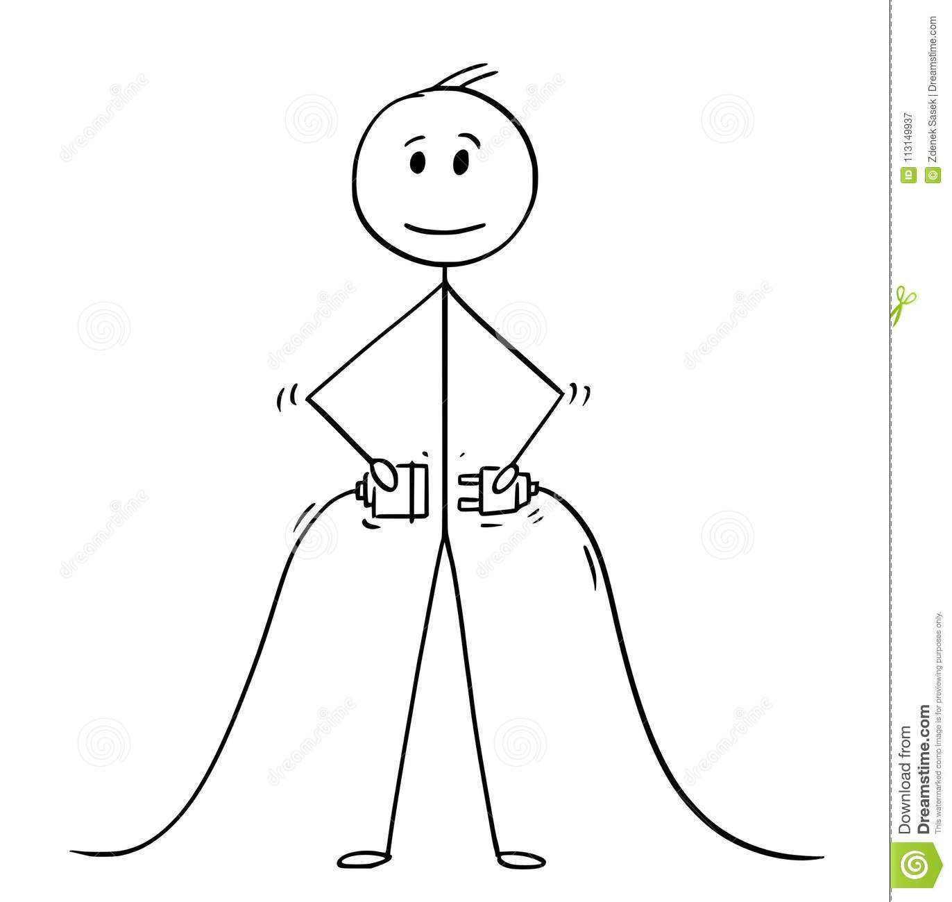 Cartoon Of Businessman Connecting Two Electricity Plugs