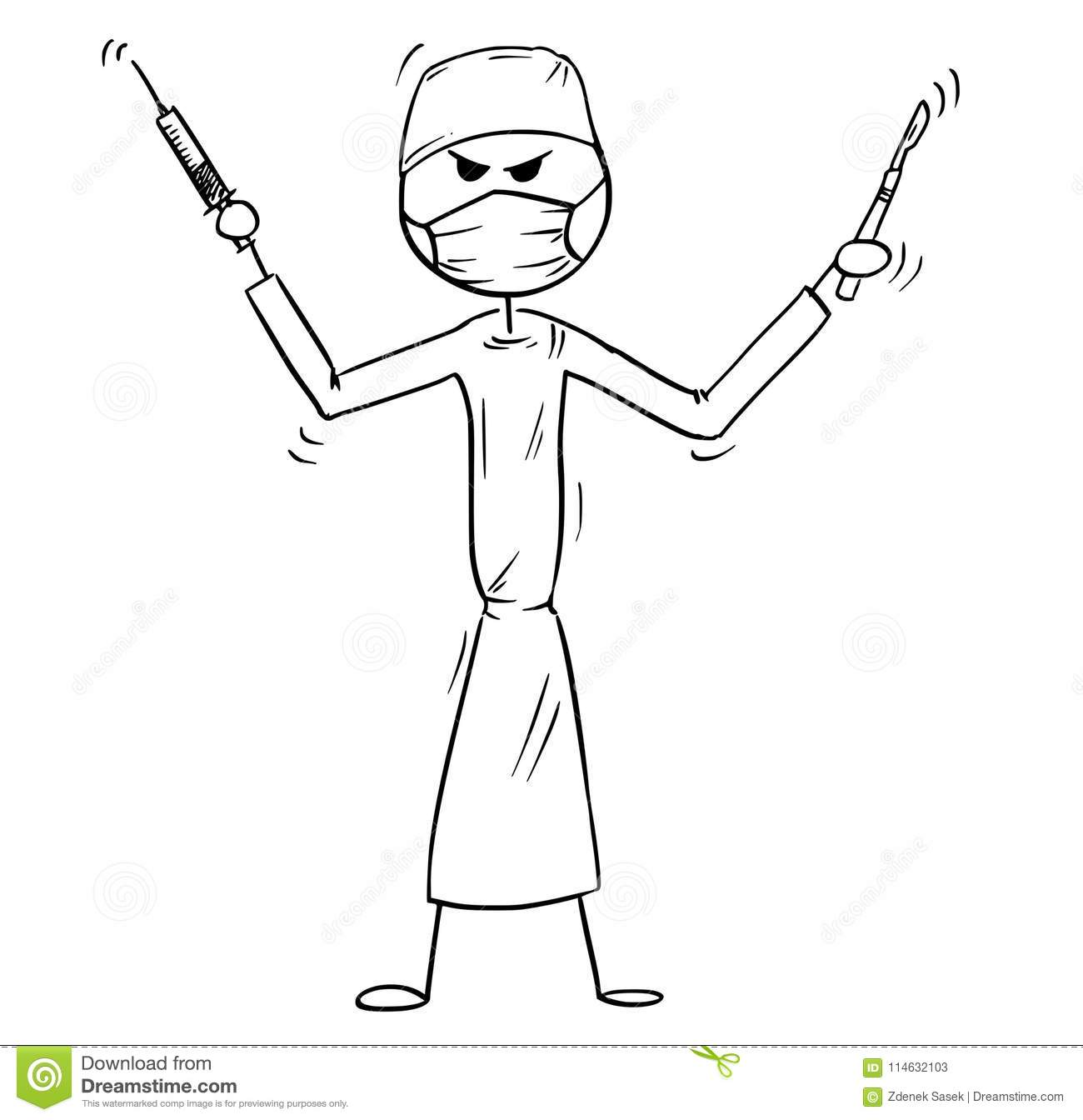 Cartoon Of Crazy Mad Or Insane Doctor Surgeon Holding