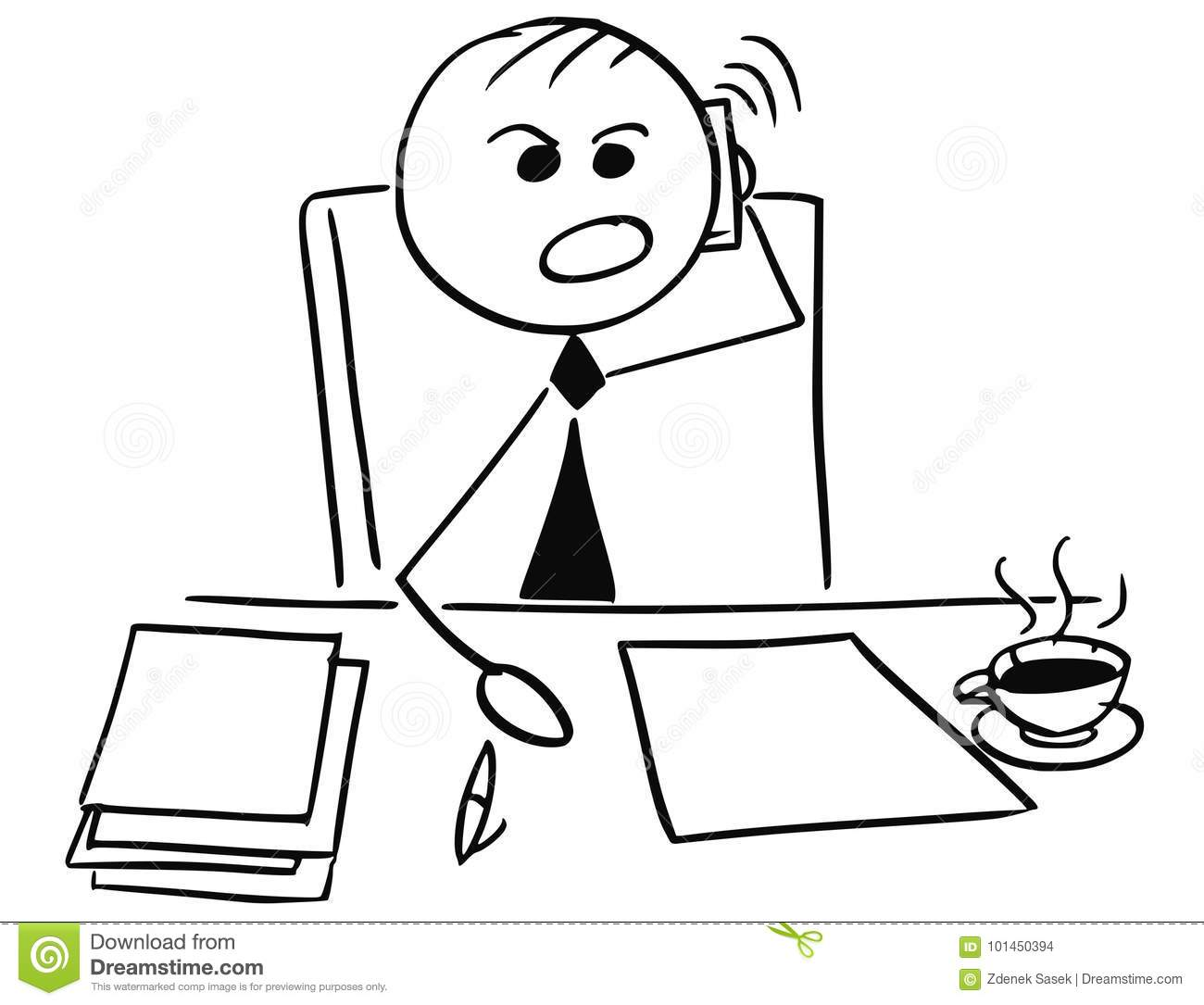 Angry Businessman Manager Boss Using Mobile Phone To Call