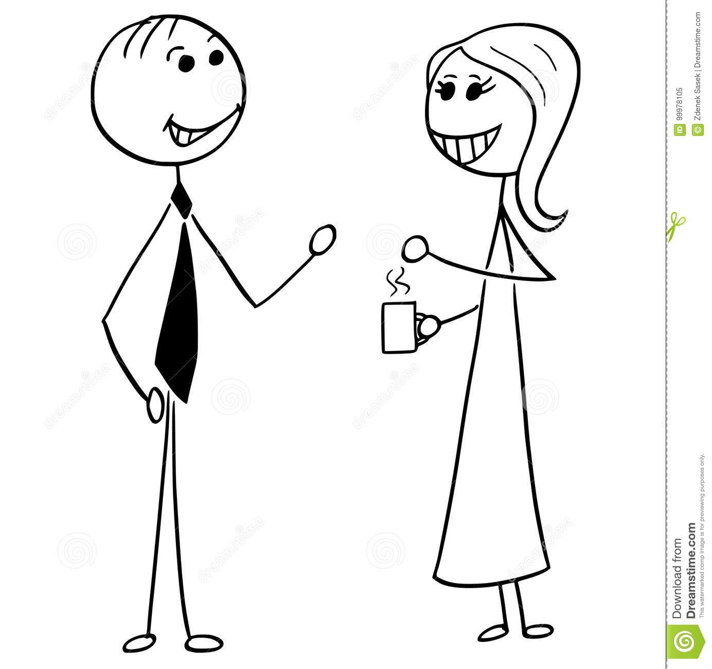 Cartoon Illustration Of Man And Woman Business People