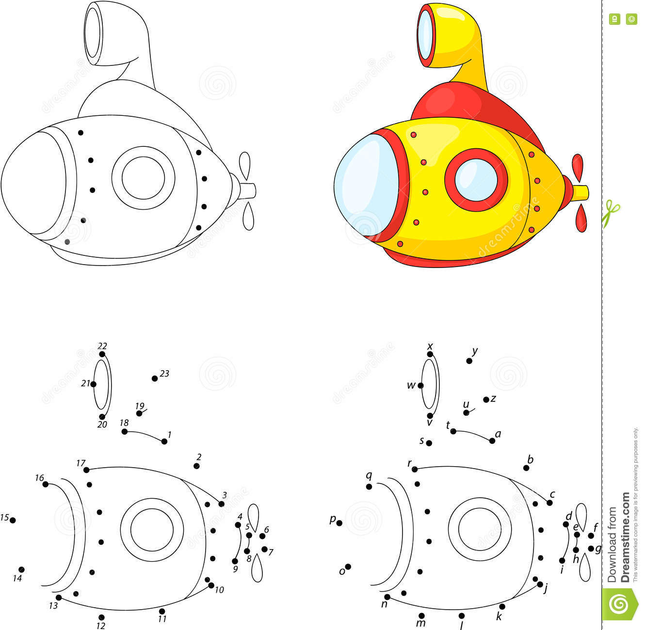 Cartoon Submarine Coloring Book And Dot To Dot Game For Kids Stock Vector