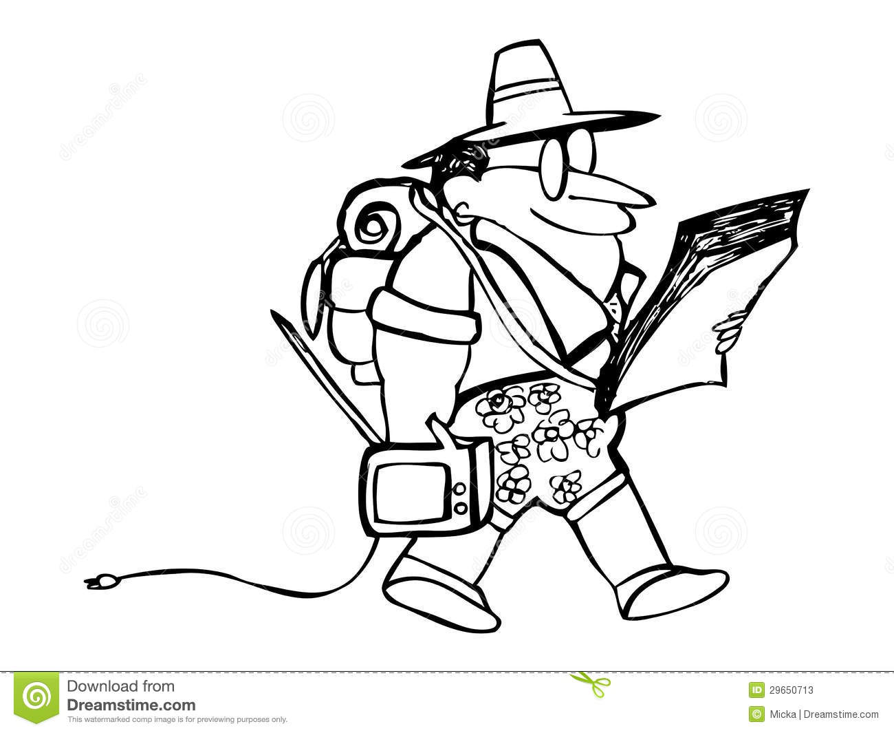Cartoon Tourist With Own Tv And Map Stock Vector