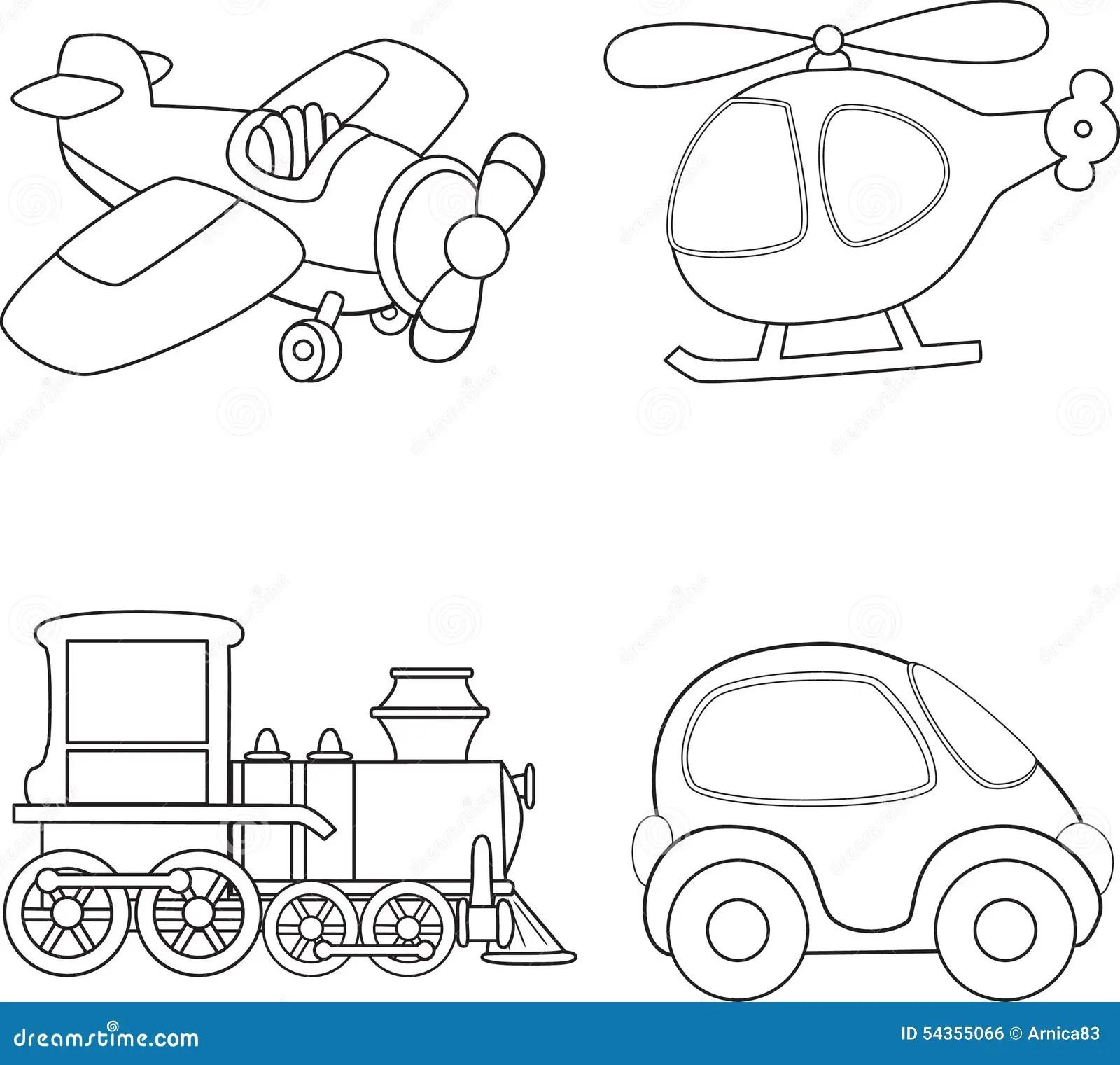 Cartoon Transport Coloring Book Stock Vector