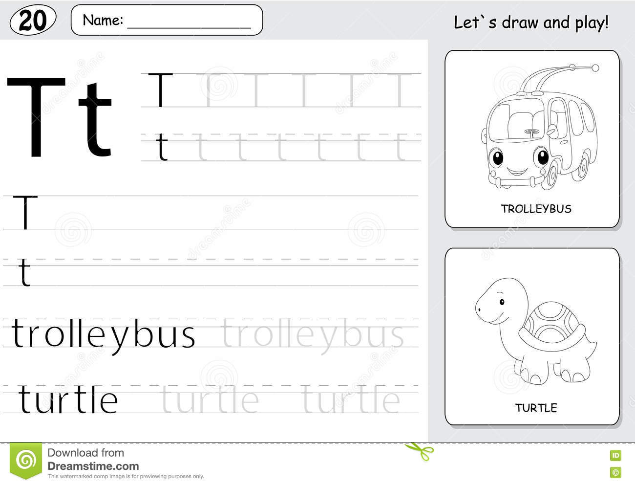 Cartoon Trolleybus And Turtle Alphabet Tracing Worksheet Writing A Z And Educational Game For