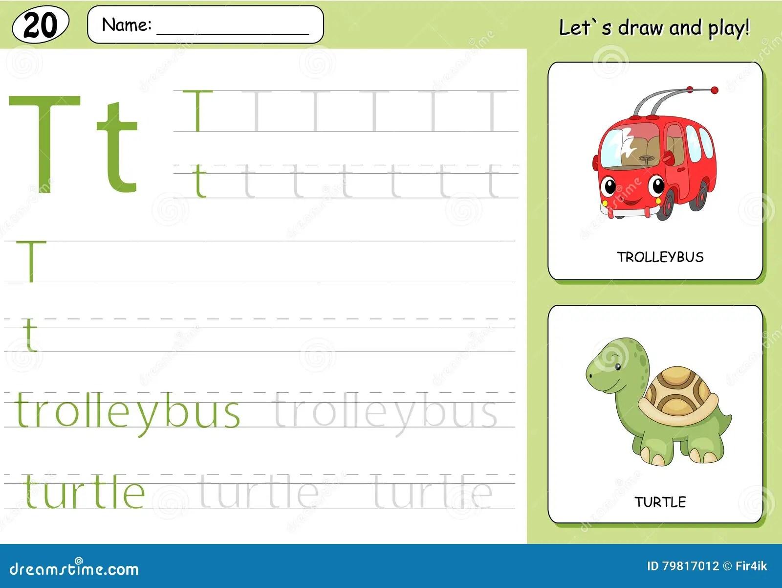 Cartoon Trolleybus And Turtle Alphabet Tracing Worksheet