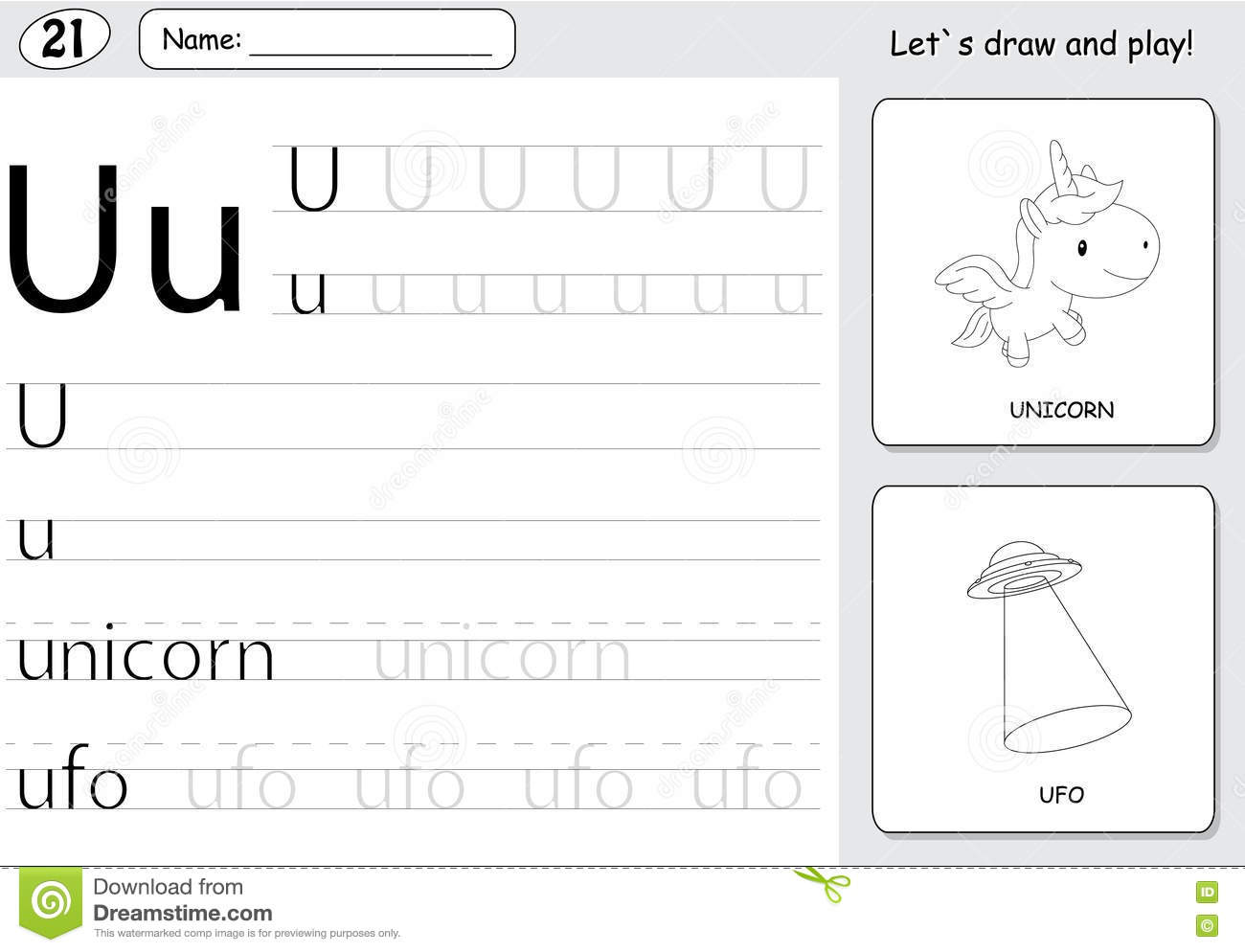 Cartoon Unicorn And Ufo Alphabet Tracing Worksheet Writing A Z Stock Vector