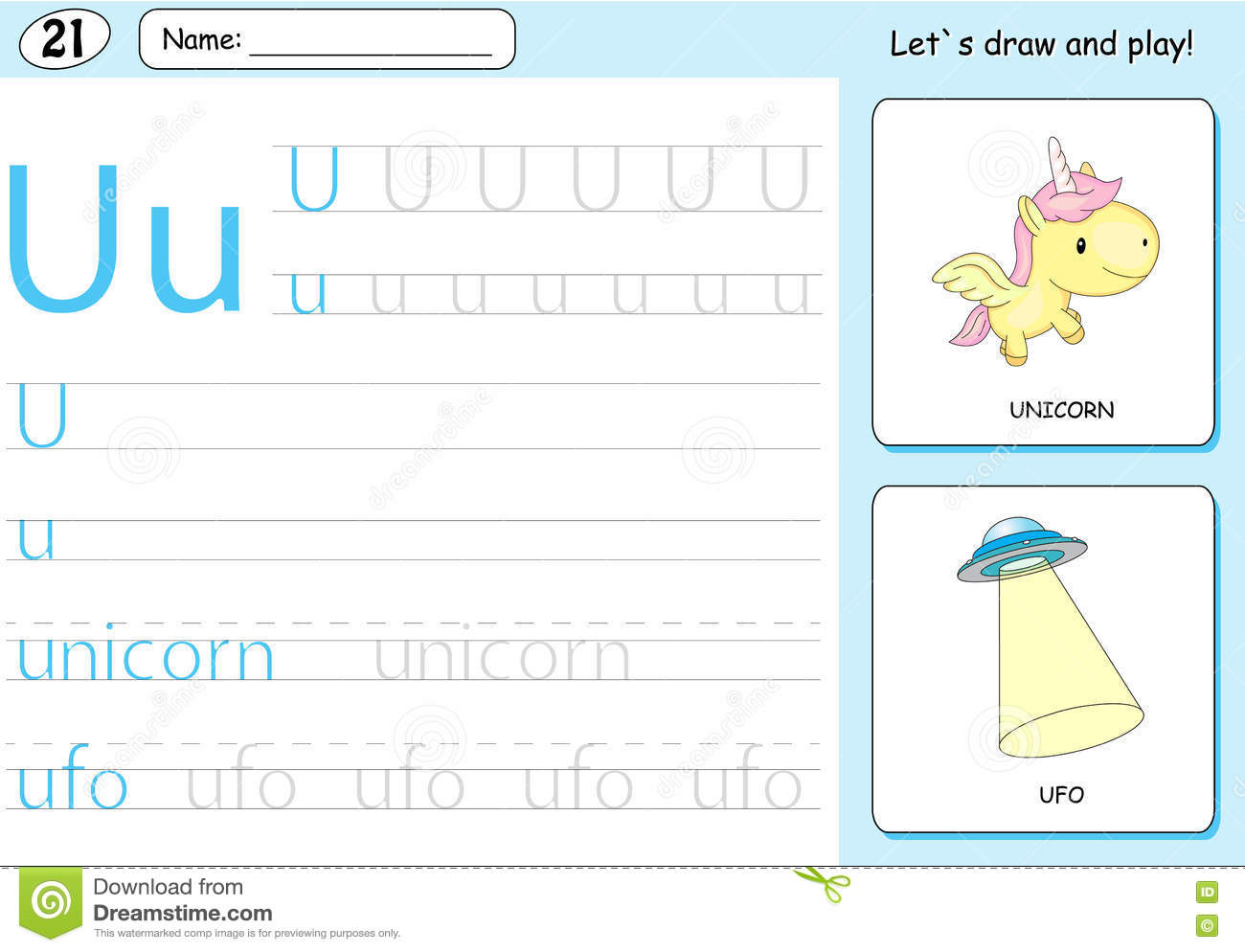 Cartoon Unicorn And Ufo Alphabet Tracing Worksheet
