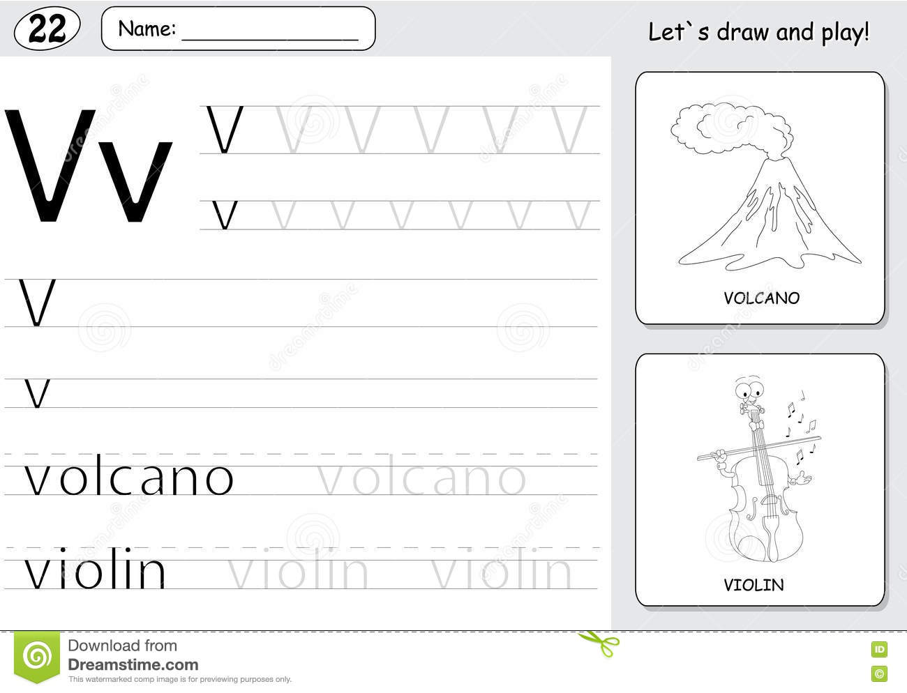 Cartoon Volcano And Violin Alphabet Tracing Worksheet