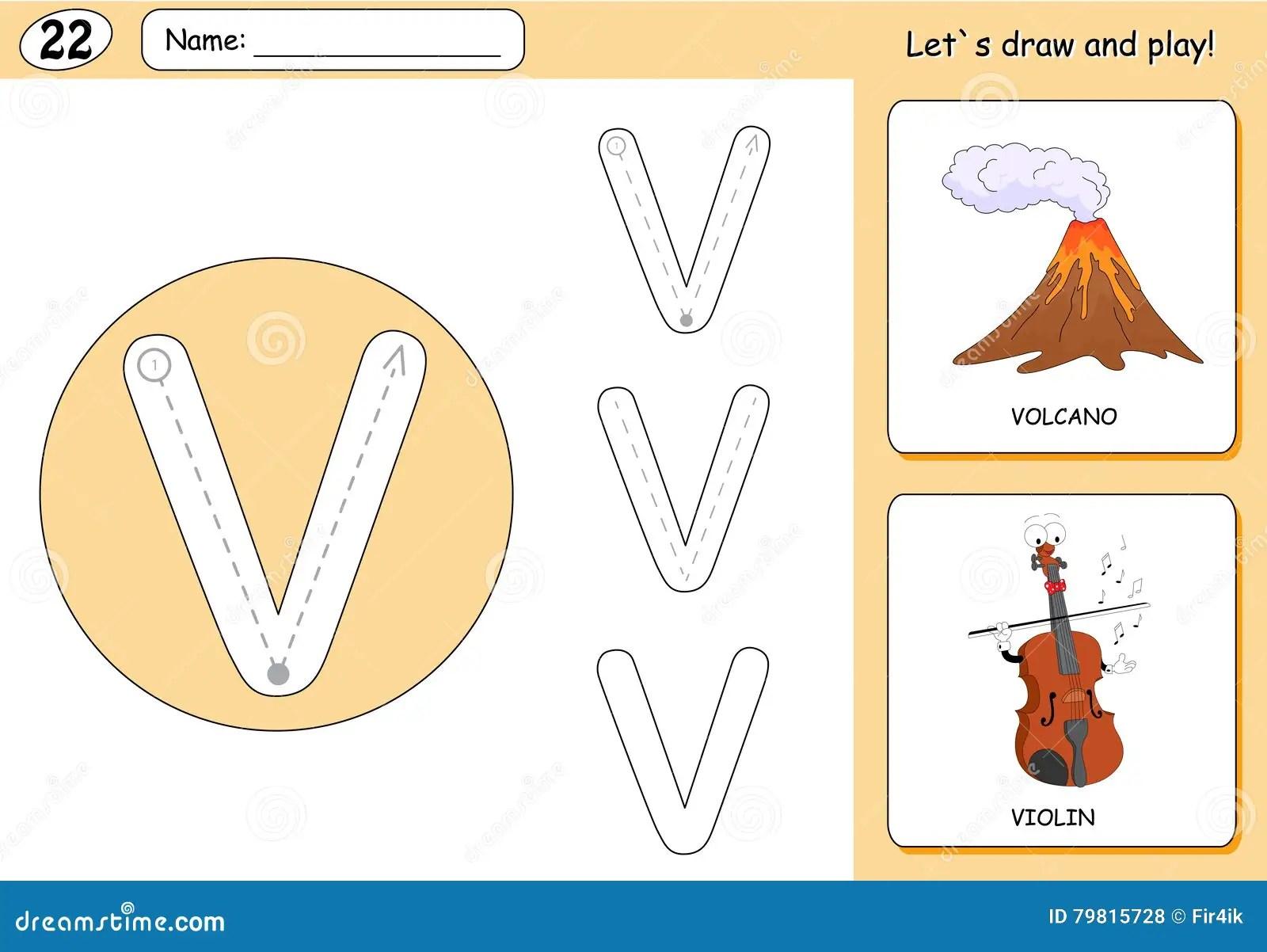 Cartoon Volcano And Violin Alphabet Tracing Worksheet
