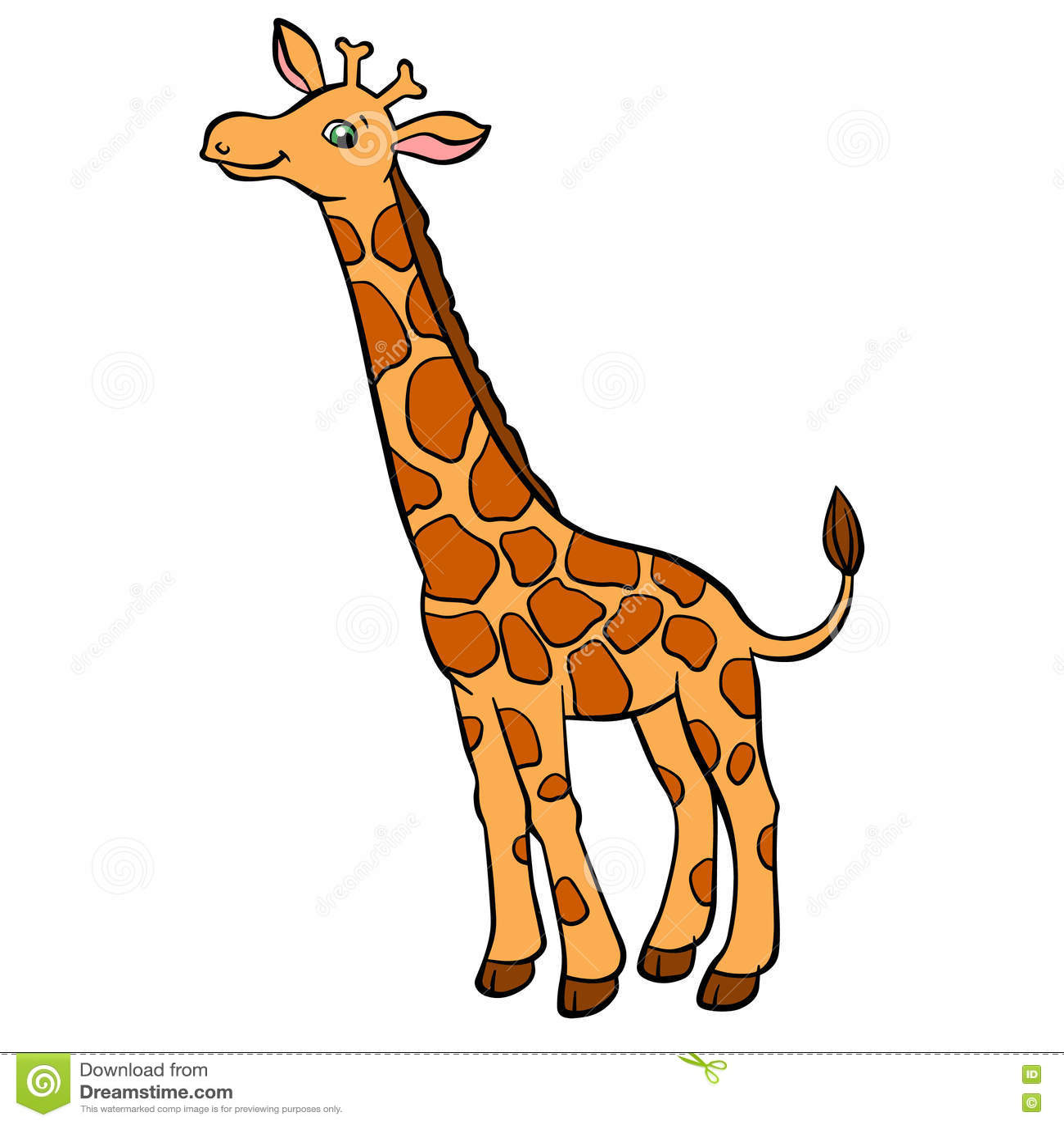 Cartoon Wild Animals For Kids Little Cute Spotted Giraffe