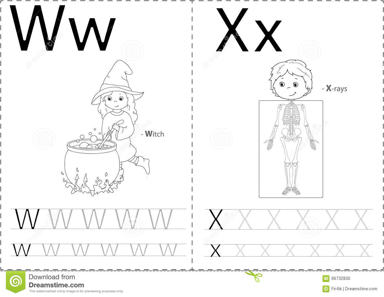 Cartoon Witch And X Rays Alphabet Tracing Worksheet Stock Vector