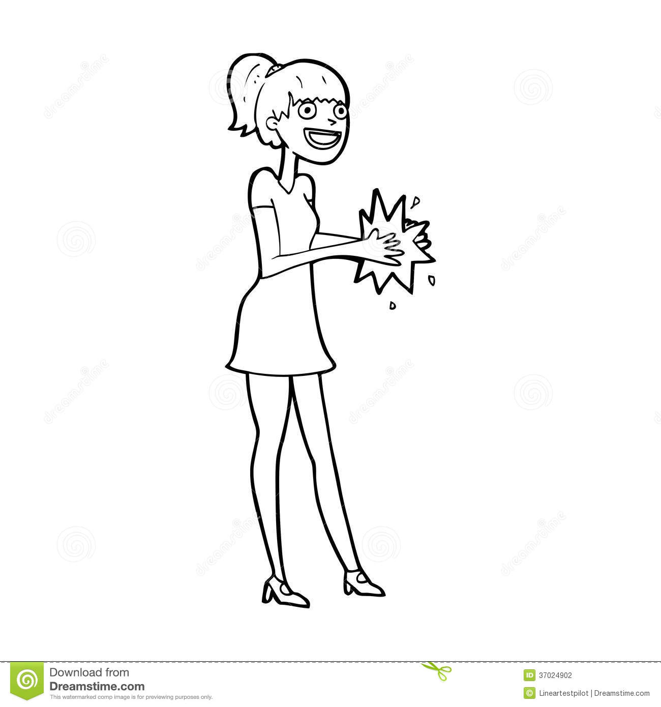 Cartoon Woman Clapping Hands Stock Illustration Image
