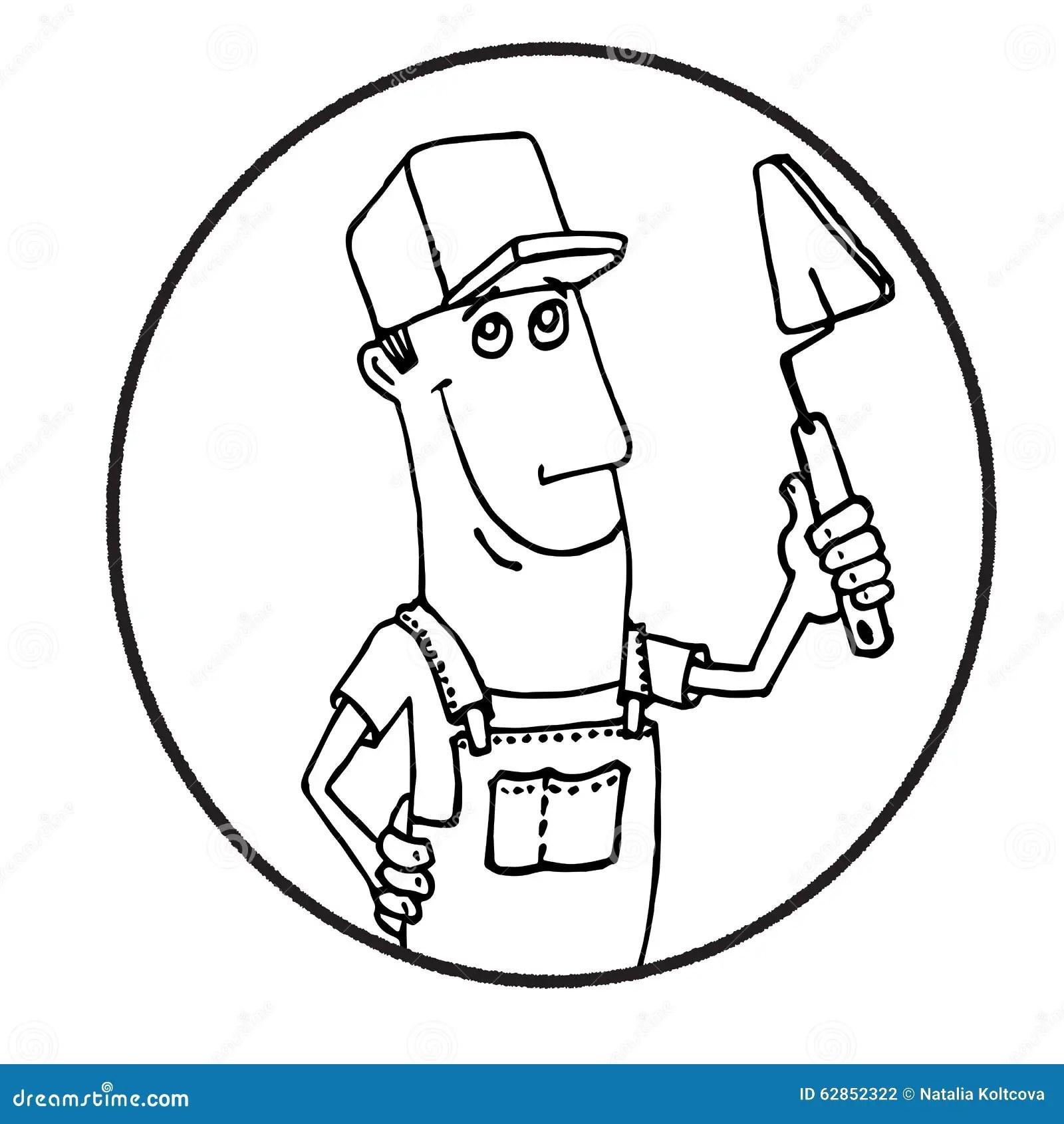 Cartoon Worker With Tool Circle Logo Stock Illustration